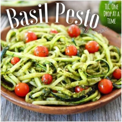"Basil Pesto over Zucchini ""noodles"""